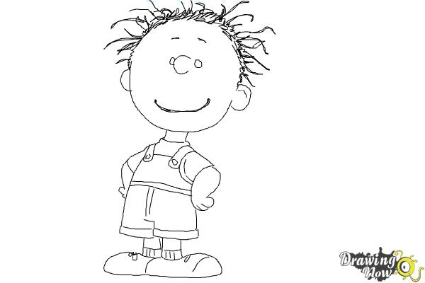How to Draw Pig Pen from The Peanuts Movie - Step 10