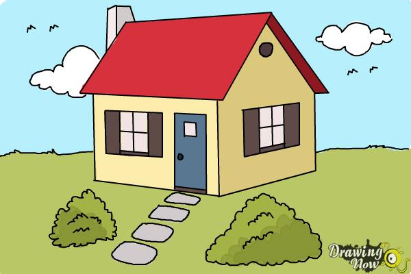 How to draw a house step by step drawingnow for Building a home step by step