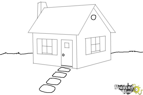 How to draw a house step by step drawingnow for House drawing easy