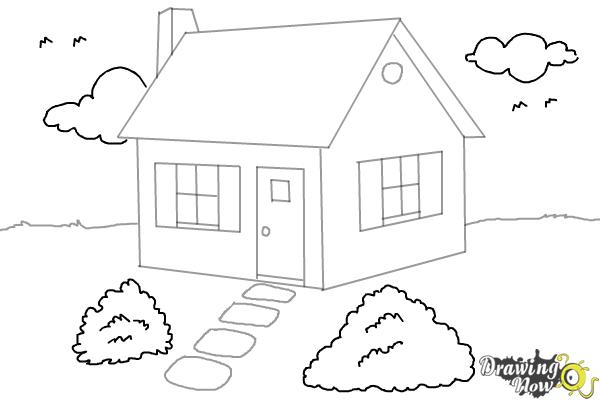 How To Draw A House Step By Step Drawingnow