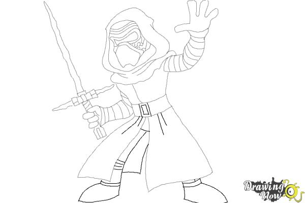 How to Draw Kylo Ren from Star Wars VII - Step 10