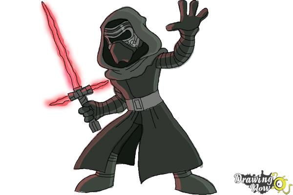 How to Draw Kylo Ren from Star Wars VII - Step 11
