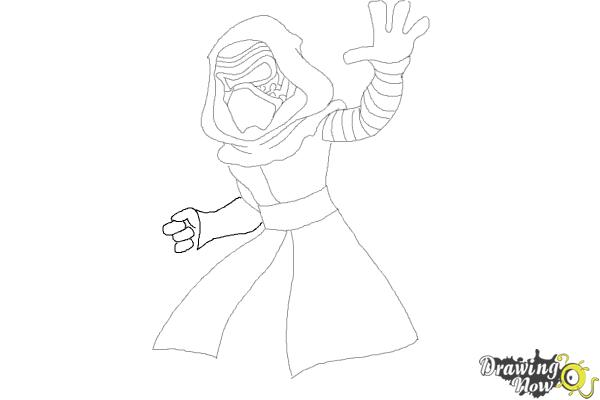 How to Draw Kylo Ren from Star Wars VII - Step 8