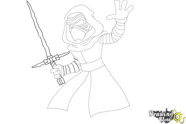 How to Draw Kylo Ren from Star Wars VII - Step 9