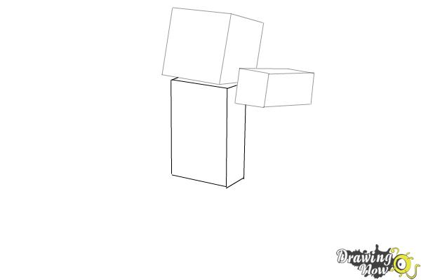 How to Draw Herobrine from Minecraft - Step 3