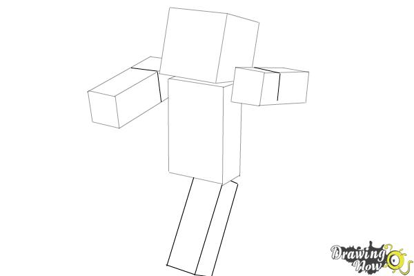 How to Draw Herobrine from Minecraft - Step 5