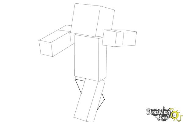 How to Draw Herobrine from Minecraft - Step 6