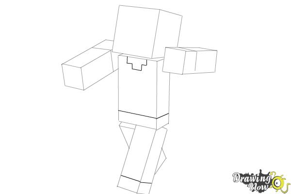 How to Draw Herobrine from Minecraft - Step 7
