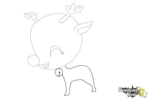 How to Draw a Cute Reindeer - Step 7