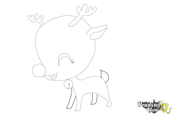 How to Draw a Cute Reindeer - Step 8
