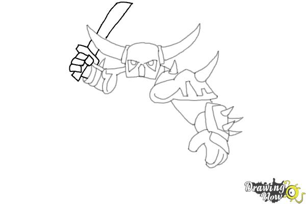 How to Draw P.E.K.K.A from Clash of Clans - Step 7