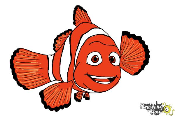 How to Draw Marlin from Finding Dory - Step 10