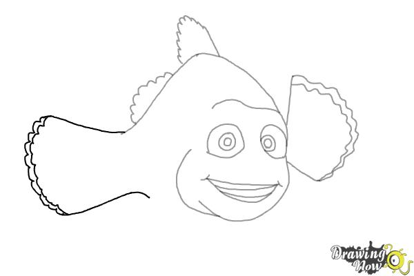 How to Draw Marlin from Finding Dory - Step 6
