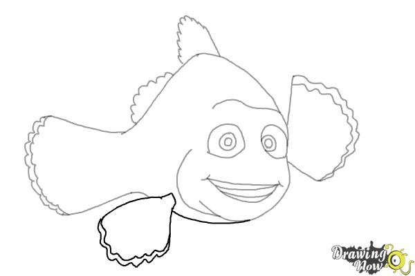 How to Draw Marlin from Finding Dory - Step 7