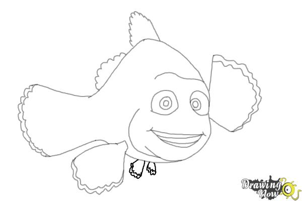 How to Draw Marlin from Finding Dory - Step 8