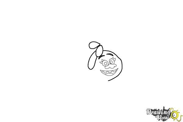 How to Draw DJ Suki from the Movie Trolls - Step 3