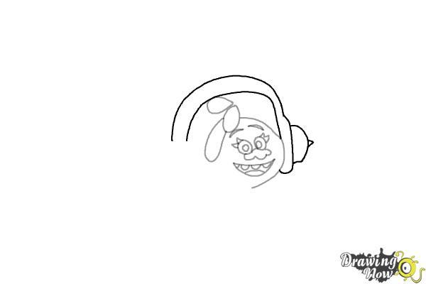 How to Draw DJ Suki from the Movie Trolls - Step 4