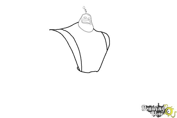 How to Draw Captain Qwark from the Movie Ratchet and Clank - Step 3