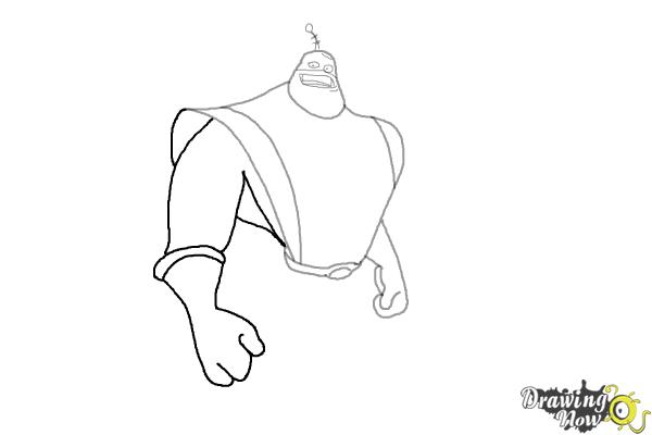 How to Draw Captain Qwark from the Movie Ratchet and Clank - Step 5