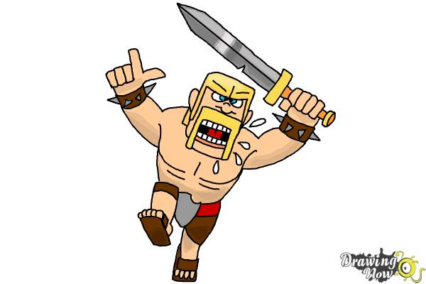 How to Draw The Barbarian From Clash Of Clans - Step 10