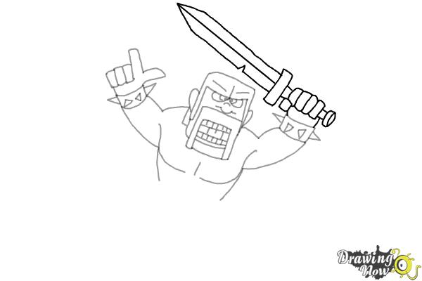 How to Draw The Barbarian From Clash Of Clans - Step 7