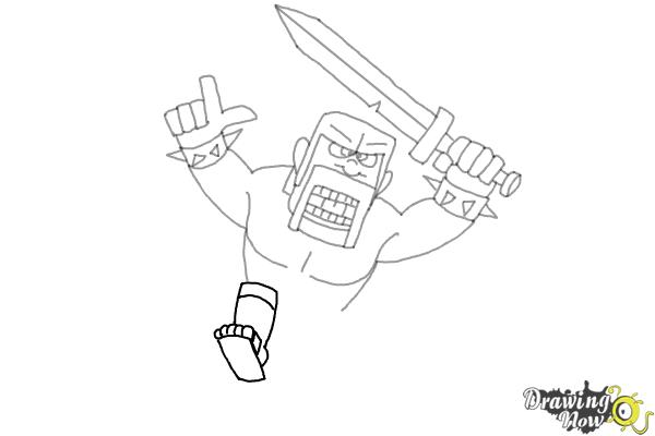 How to Draw The Barbarian From Clash Of Clans - Step 8