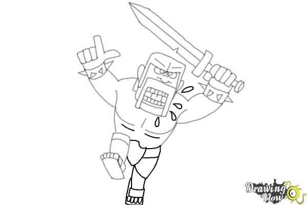 How to Draw The Barbarian From Clash Of Clans - Step 9