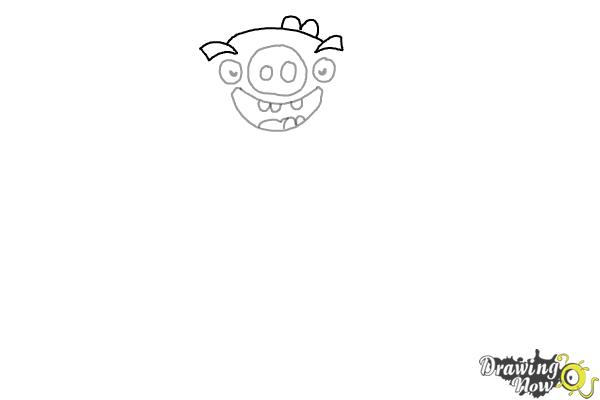 How to Draw Leonard The King Pig from Angry Birds - Step 4