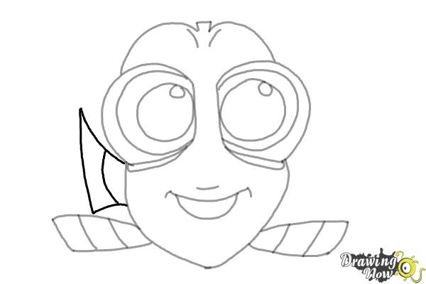 How to Draw Baby Dory From Finding Dory - Step 7