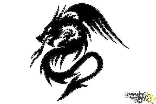 How to Draw a Dragon Tribal Tattoo - Step 10