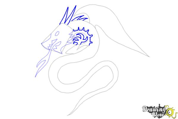 How to Draw a Dragon Tribal Tattoo - Step 6