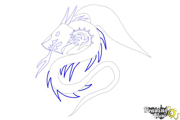 How to Draw a Dragon Tribal Tattoo - Step 7