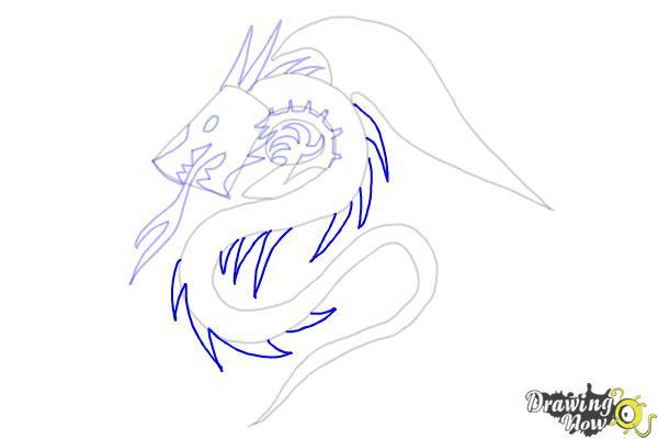 How to Draw a Dragon Tribal Tattoo - Step 7