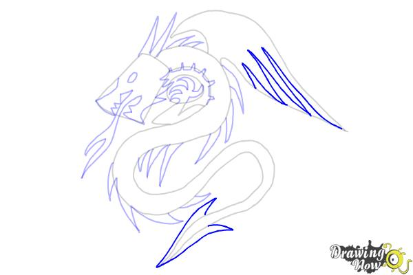 How to Draw a Dragon Tribal Tattoo - Step 8