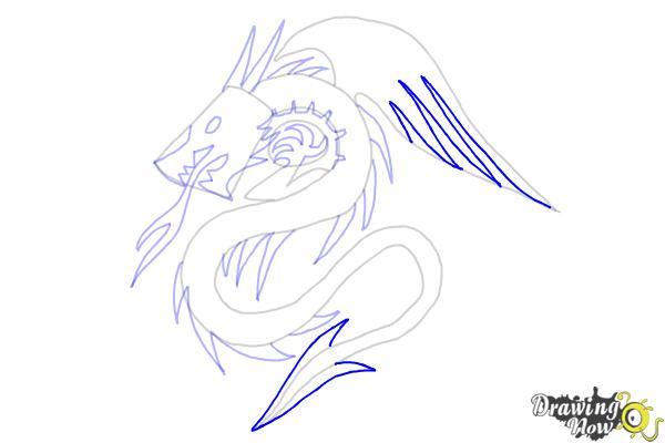 How to Draw a Dragon Tribal Tattoo - Step 8