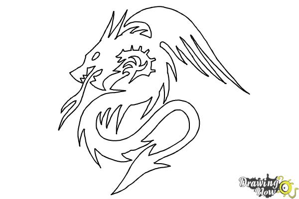 How to Draw a Dragon Tribal Tattoo - Step 9