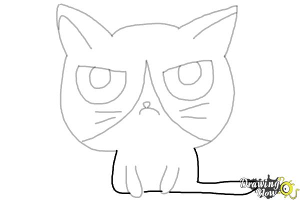 How to Draw a Grumpy Cat - Step 9