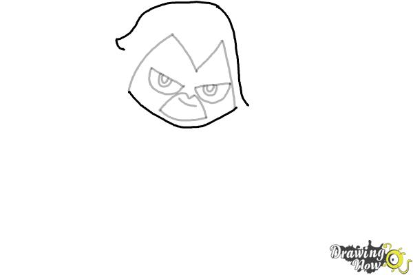 How to Draw Chibi Raven | Teen Titans - Step 6