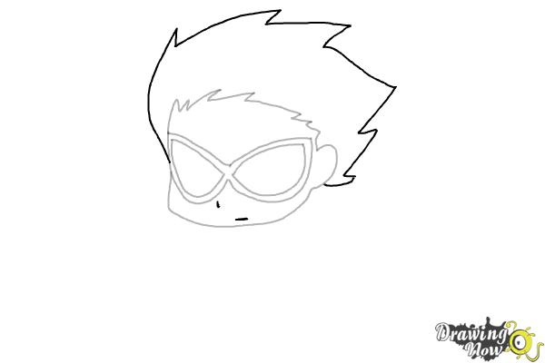 How to Draw Chibi Robin | Teen Titans - Step 4