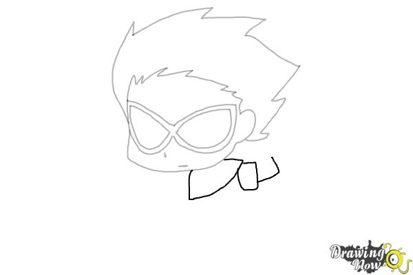 How to Draw Chibi Robin | Teen Titans - Step 5