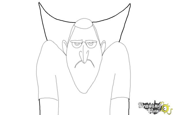 How to Draw Drac from Hotel Transylvania 3 - Step 7