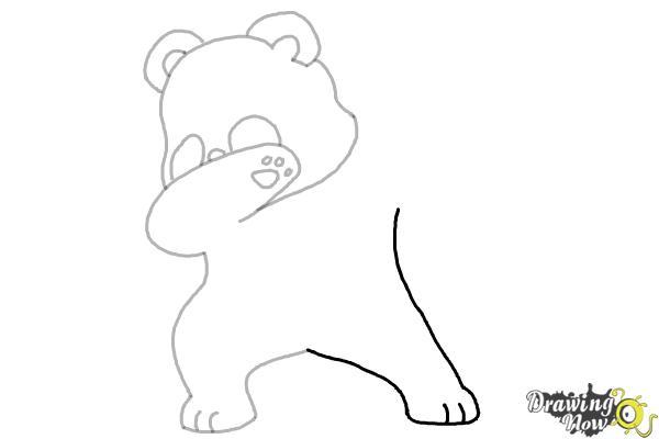 How to Draw Panda Dabbing - Step 7