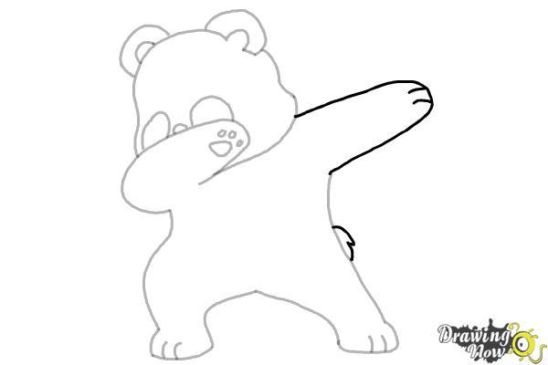 How to Draw Panda Dabbing - Step 8