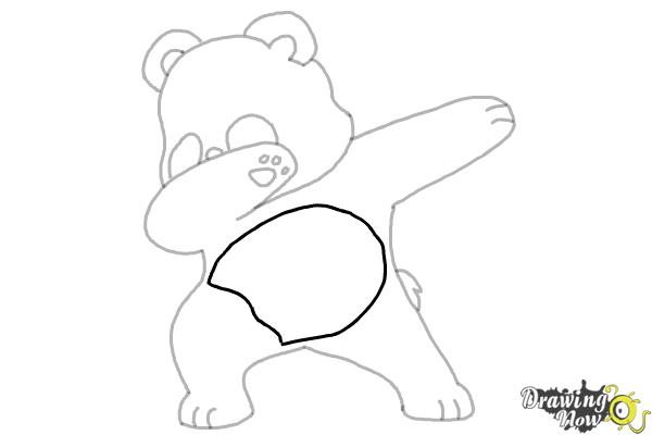 How to Draw Panda Dabbing - Step 9