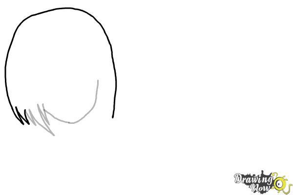 How to Draw Anime Girl Hair - Step 3