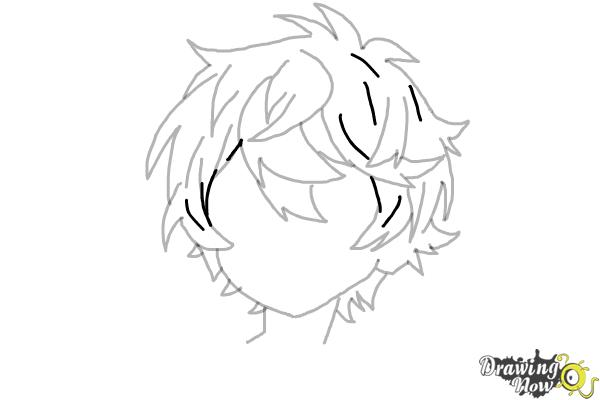 How to Draw Anime Boy Hair - Step 14