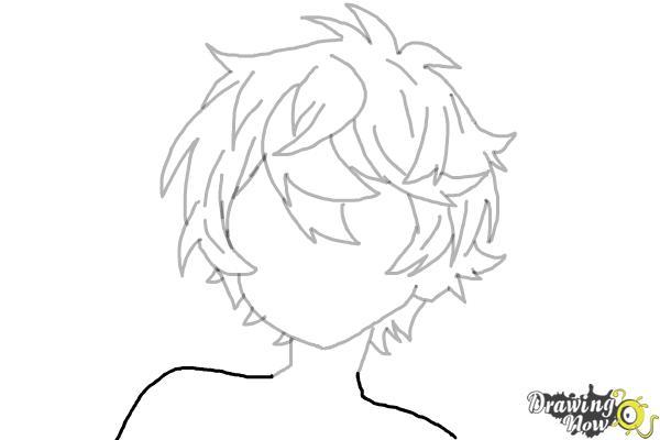 How to Draw Anime Boy Hair - Step 15