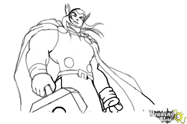 How to draw thor step 8