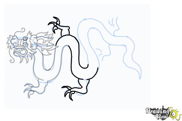 How to Draw a Chinese Dragon Body - Step 17