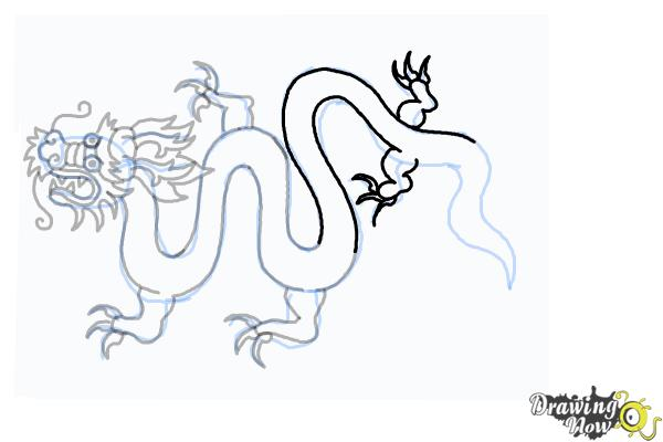 How to Draw a Chinese Dragon Body - Step 18